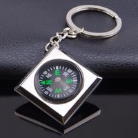 Wholesale car light plates frames for sale - Metal square diamond compass key ring creative tourism souvenir diamond compass key ring