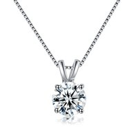 Wholesale Round Solitaire Diamond Pendant - Factory Price Round Cut White Gold Simulated Diamond Pendant Necklace New for girlfriend mon gift free shipping