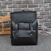Wholesale Horse School Bags - PU Backpacks for Men Copy Craze Horse Leather Double Shoulder Bags Big Capacity Vintage School Bag