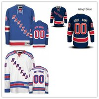 Wholesale Lights Ranger - Stitched Custom New York Rangers mens womens youth Customized Navy Blue Third Light White Home Personalized ice Hockey cheap Jerseys S-4XL