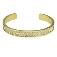Wholesale Golds Embedded - Fashion Gold Plated Embed with Rhinestones Simple Open Cuff Bracelets for Women