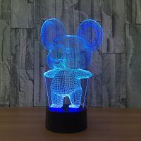 urso de toque da lâmpada venda por atacado-3D koala bear Ilusão Night Lamp 7 RGB Luzes Coloridas USB Alimentado com Bateria Bin Botão de Toque Atacado Dropshipping