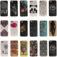 Wholesale Iphone Rubber Shell Case - iPhone 7 Case Ultra Slim Protective Case Flexible IMD TPU Shell Skin Scratch-proof Rubber Case with Lion Flower Panda
