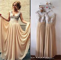 Wholesale Sequined Beaded Prom Dresses - Cheap Vintage Burgundy Long Prom Dresses 2017 V Neck A Line Champagne Sequined Beach Backless Evening Gowns Bridesmaid Dress