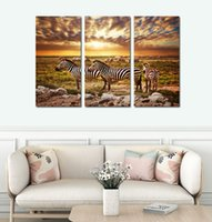 Wholesale African Art Wall Decor - 3pcs set Unframed The African Prairie Zebra HD Print On Canvas Wall Art Painting Art Picture For Home Decor