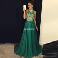 Wholesale Emerald Green One Shoulder Dress - Luxury Emerald Green Prom Dresses Long 2017 Illusion High Neck Crystal Beaded Formal Women Evening Gowns Sheer A-Line Tulle Party Dress