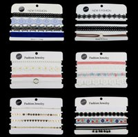 Wholesale pearl choker necklace gothic - 4 Pack Choker Necklace Set Stretch Velvet Classic Gothic Tattoo Lace Choker Necklaces Charm Lace accessory
