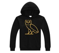 Wholesale Ovo Jacket - 2016 autumn and winter 100% cotton men's sportswear sportswear jogging jacket pullover sweater round neck birds OVO black hip-hop men's larg