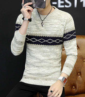 Wholesale Chinese Wool Sweater - Free Shipping New high-end men's wholesale cashmere sweater casual striped round neck sweater underwear men's sweater