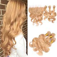 Wholesale Human Hair Blonde 27 - Strawberry Blonde 13x4 Lace Frontal Closure Middle Part With #27 Honey Blonde Brazilian Body Wave Virgin Human Hair 3Bundles 4Pcs Lot