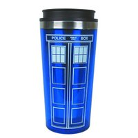 Wholesale Coffee Cupping Spoon - Wholesale- New Doctor Dr. Who Tardis Coffee Cup With Lid Coffee Bottle 1253 Stainless Steel Interior Thermos Mug 450ml Creative Gift
