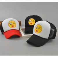 Wholesale Hats New Brim Hip Hop - New Fashion Unisex Emoji Printing Mesh Baseball Cap Curved Brim Trucker Hat Hip Hop Caps Dad Snapback Hats For Men And Women