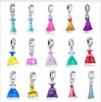 Оптовые 150pcs Belle Princess Cinderella Ariel Elsa Princess Ann Skirt Fits Pandora Jewelry Bracelets DIY Charms Europen Chang Charm Bead