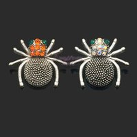 Wholesale Wholesale Fashion Spider Jewelry - High quality w302 spider 18mm rhinestone metal snap button for Bracelet Necklace Jewelry For Women Fashion accessories