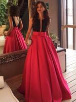 liston rojo para vestidos al por mayor-2018 Princess Scoop Neck Fajas / cintas de satén Barrido de tren Vestidos de baile sexy sin espalda rojo Vestidos de noche para ocasiones especiales formales por encargo