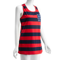 Wholesale Flag Print Out - Wholesale-NEW Summer Style American Flag Stripe Star Print Tops & TeesT-Shirts Sexy Summer Tops Shirt for Women Sleeveless Shirts *35