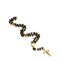 cadena de collar de rosario de acero inoxidable al por mayor-Collar largo cadena de suéter Cristo crucifijo cruz Rosario collar con silicona masculina acero inoxidable joyería NC-210