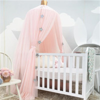 Wholesale Infant Bedroom - 2017 Summer Baby Mosquit Net Palace Children Room Dome Bed Netting curtain Cotton Infant Kids Boys Girls Bedroom Tents purple 5 color