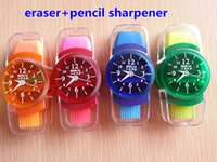 Wholesale Blue Sharpener - Wholesale-Brush rubber pencil sharpener with new fashion clock modeling   hole Sharpener pencil sharpener free shipping