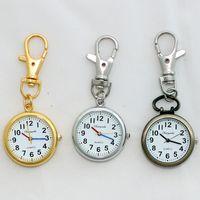 Wholesale Key Ring Pocket Watch - Wholesale-Silver Gold Bronze Retro Pocket Key Ring Clip Clasp Bag Watch Quartz Watch GL52