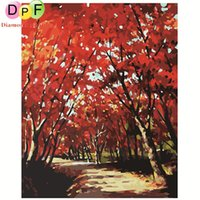 Wholesale DPF Frameless digital oil painting by numbers Red autumn diy home decoration craft paint on canvas unique gift picture