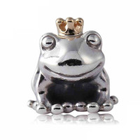 Wholesale Authentic Pandora Charms Silver Crown - Authentic 925 Sterling Silver Bead Charm Cute Frog Prince With Gold Crown Beads Fit Women Pandora Bracelet Bangle Diy Jewelry HKA3517
