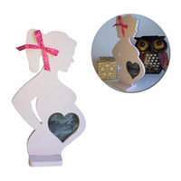 Wholesale Funny Photos Women - Creative Wooden Baby Photo Frame Pregnant Women Mother To Be Home DIY Decoration Body Props 15cm*26.2cm*0.9cm Funny Gift ZA3176
