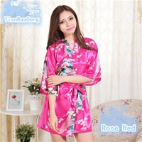 Wholesale Short Japanese Robe - 14 Colors S-XXL Sexy Women's Japanese Silk Kimono Robe Pajamas Nightdress Sleepwear Broken Flower Kimono Underwear D718
