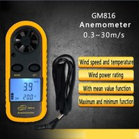 Anémomètre À Capteur Intelligent Pas Cher-GM816 Anémomètre Pocket Portable Handheld Gauge Mini LCD Digital Air Wind Speed ​​Meter Testeur Mesure électronique Smart Sensor