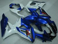 Wholesale Gsxr Plastics - Body Kits GSXR 600 08 09 Plastic Fairings for Suzuki GSXR750 09 10 Blue White Bodywork GSXR750 08 10 2008 - 2010 K8