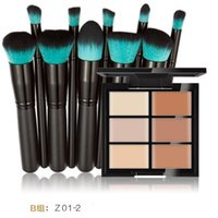 Wholesale Blue Concealer - Hua Mian Li Makeup Concealer Foundation cream 6 Colors Contouring Palette + eyeshadow brush 10 black handle blue head Cosmetic brushes set