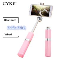 Wholesale light purple pink lipstick online - CYKE S1 Selfie Stick Wireless Bluetooth Wired Universa Fashion Aluminum Alloy Telescopic Lipstick Nude for woman IOS Android Smartphones