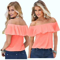 Wholesale Pink Ruffle Blouse Top - 2017 Slim Elegance All-match Off Shoulder Women Tops Ruffled Slash Neck Short Butterfly Sleeve Blouses Shirt White Pink Female Blusas