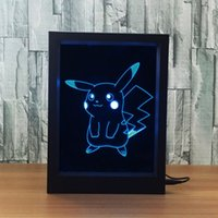 3D Pikachu Charmander Squirtle LED Photo Frame Decoration Lamp IR Remote 7 RGB Lights DC 5V Factory Wholesale Drop Shipping