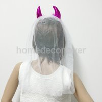 Bachelorette Devil Horns Headband With Veil Новинка Hen Party Accessory