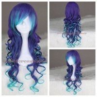 Wholesale Purple Cosplay Wigs - 100% New High Quality Fashion Picture full lace wigs Women Costume Wig Anime Wigs Ombre Blue Mix Purple Long Curly Synthetic Cosplay