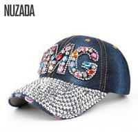 Wholesale Snapback Hat Glass - Wholesale- Brands NUZADA Denim Women Girls Ladies Baseball Cap Acrylic Color Glass Rhinestones Hip Hop Hats Caps Snapback Bone szm-023