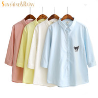 Wholesale Hot Dog Candy - hot autumn winter candy color shirt women blouse cartoon dog printed embroidery design three quarter sleeve girls blouse tops
