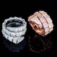 Wholesale Platinum Full 925 Sterling Silver - 925 Sterling Silver Full Cz Stone Snake Rings For Women Men 2017 High Quality Luxury Design Fashion 18K Rose Gold Platinum Plated Jewelry