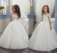 Wholesale Boat Chart - 2017 New Elegant Ivory Half Sleeve Boat Neckline Holy First Communion Flower Girls Dresses Appliques Tulle Girls Pageant Dresses