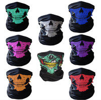 Wholesale Half Balaclava - Motorcycle SKULL Ghost Face Windproof Mask Beanie Hat Outdoor Sports Warm Ski Mask Caps Bicyle Bike Balaclavas Bonnet Scarf Man