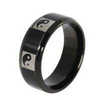 yin yang schmuck für männer großhandel-Yin und Yang Taiji 8mm Charmante Ringe für Männer und Frauen Edelstahl Schwarzer Ring Schmuck