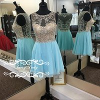 Atemberaubende kurze Illusion Bodice Sky Blue Heimkehr Kleider 2017 Major Perlen Sequins Sheer zurück Juwel Hals Junior Kleid Party Prom Gown