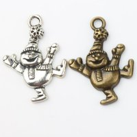 Wholesale Silver Smile Charms - Dancing Smile Snowman Charm Beads 100pcs lot 21.3x29.8mm Antique Silver Bronze Pendants Fashion Jewelry DIY L746