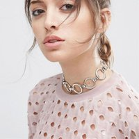 Collier De Cercles En Argent Pas Cher-Fahsion Gold Silver Plated Circle Chain Link Chokers Bib Collar Collier Femmes