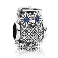 owl sports - Authentic Sterling Silver Bead Charm Vintage Graduate Owl With Crystal Beads Fit Women Pandora Bracelet Bangle DIY Jewelry HKA3465
