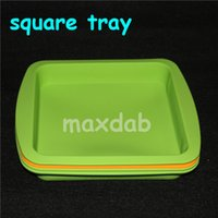 Wholesale Food Tray Holder - Nonstick wax containers silicone box 5ml silicon container food grade jars dab tool storage jar oil holder square silicone tray 8'' pan