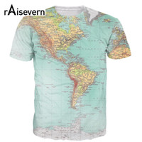 Wholesale Purple Map - Wholesale- Raisevern 2016 New Fashion 3d T Shirt The World Map Full Printing 3d T-shirt Harajuku Outfit Tees Top Summer Style Plus Size Tee