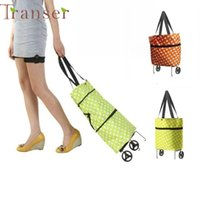 Wholesale Dual Use Bag - Wholesale- Transer Jasmine Portable Dot Dual-use Folding Shopping Bag With Roller Wheel Storage Travel Bag 0214 drop shipping