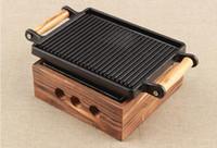 ingrosso getti di ghisa in ghisa-barbecue portatile mini ghisa stufa teppanyaki barbecue grill per Single coppia ghisa padella e stufa 024-1